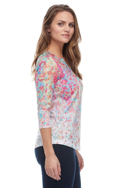 FDJ LADIES FLORAL PRINT NOTCHED CREW NECK TOP