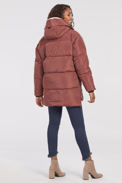 TRIBAL LADIES COCOON PUFFER W/SHERPA HOOD CINNAMON JACKET