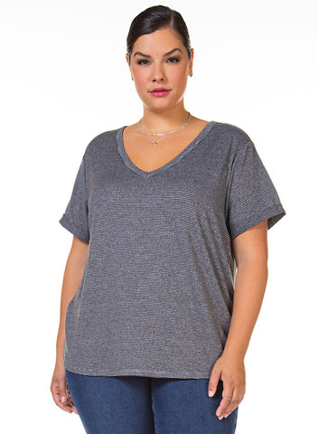 DEX CLOTHING LADIES V-NECK CHARCOAL/GREY STRIPE TOP