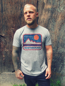 NORTHBOUND SUPPLY CO MENS RETRO MOUNTAINS GRAPHITE HEATHER TSHIRT