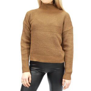 RD INTERNATIONAL LADIES KNIT DARK PECAN SWEATER