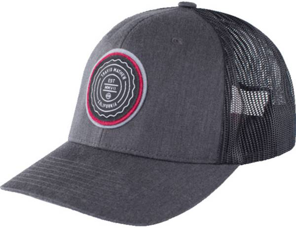 TRAVIS MATHEW TRIP L HEATHER GREY PINSTRIPE SNAPBACK HAT