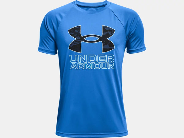 UNDER ARMOUR YOUTH TECH HYBRID PRINT FILL BLUE CIRCUIT TSHIRT
