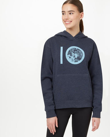 TEN TREE LADIES FLORAL AOP LOGO DARK OCEAN BLUE HEATHER HOODIE