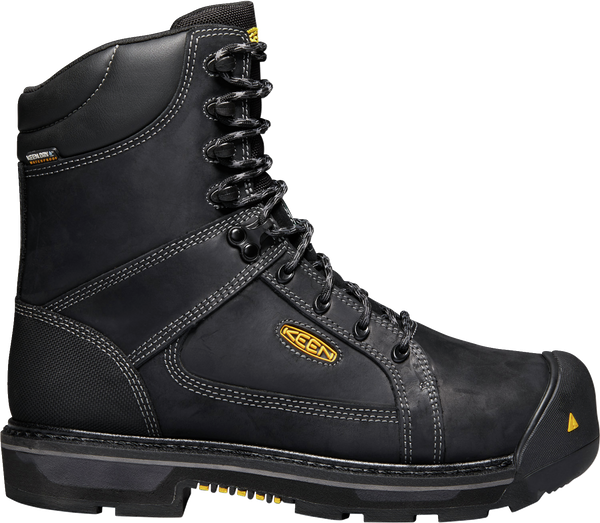 "KEEN MENS CSA OAKLAND 8"" CARBON WP BLACK/GARGOYLE BOOT"