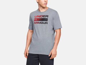 UNDER ARMOUR MENS TEAM ISSUE WORDMARK STEEL LIGHT HEATHER TSHIRT