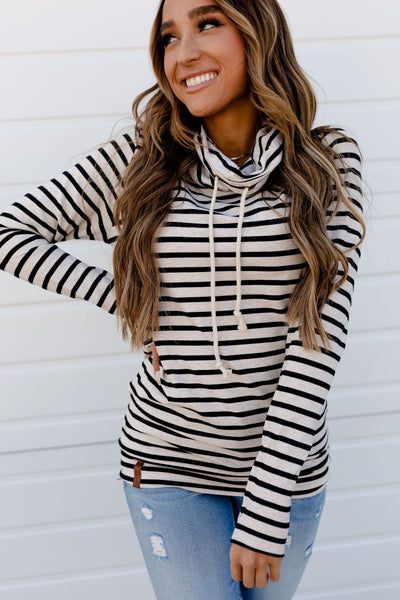AMPERSAND AVE LADIES TAN STRIPE COWLNECK SWEATER