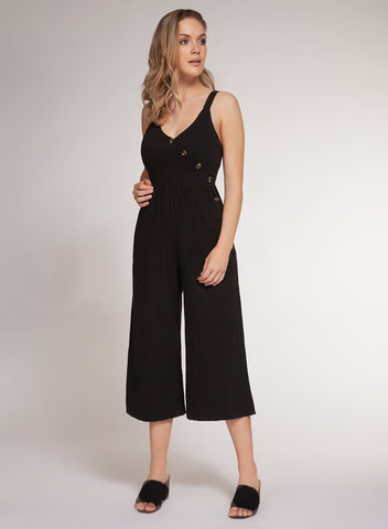 DEX CLOTHING LADIES STRAPY BLACK JUMPSUIT WITH BUTTON DETAIL