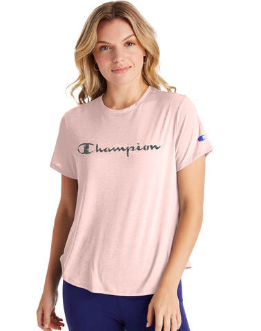 CHAMPION LADIES SPORT LIGHTWEIGHT HUSH PINK TSHIRT