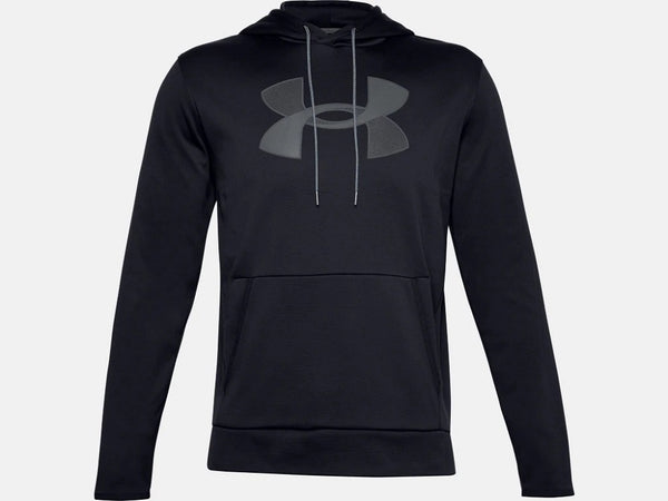 UNDER ARMOUR MENS ARMOUR FLEECE BIG LOGO BLACK HOODIE