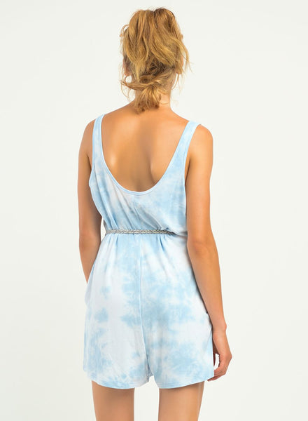 DEX CLOTHING LADIES KNIT BABY BLUE TIE DYE ROMPER
