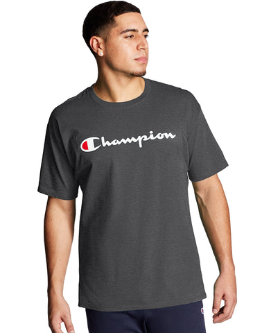 CHAMPION MENS SCRIPT LOGO CLASSIC JERSEY GRANITE HEATHER TSHIRT
