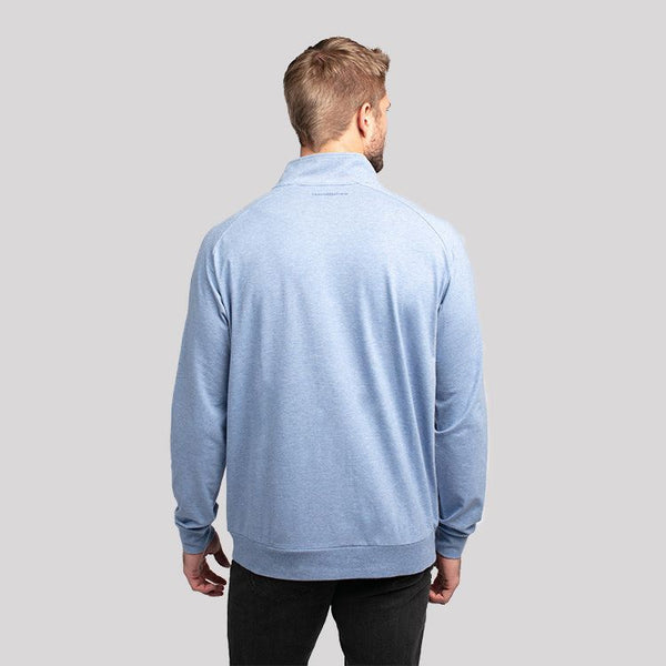 TRAVIS MATHEW MENS ZACHARY 1/2 ZIP HEATHER LIGHT BLUE JACKET