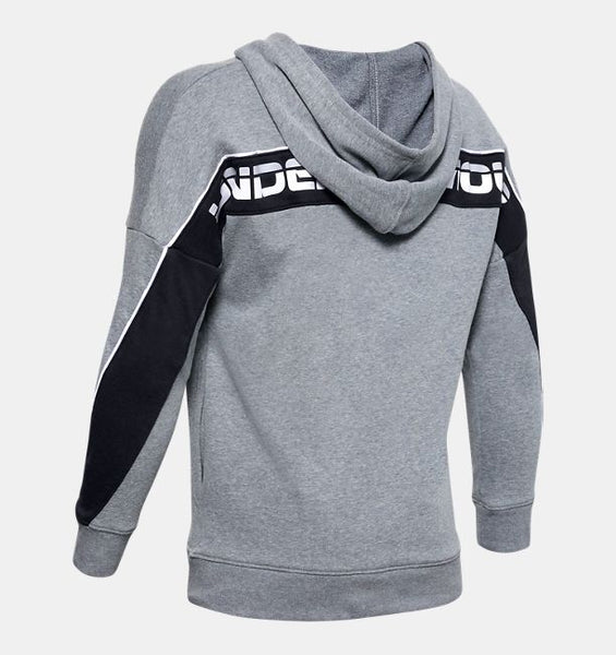 UNDER ARMOUR YOUTH RIVAL TERRY PITCH GREY LIGHT HEATHER HOODIE