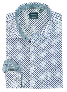 LEO CHEVALIER MENS LS 100% COTTON NON-IRON WHITE/BLUE SHIRT