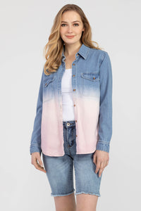 TRIBAL LADIES LS OMBRE DENIM MAUVE TOP