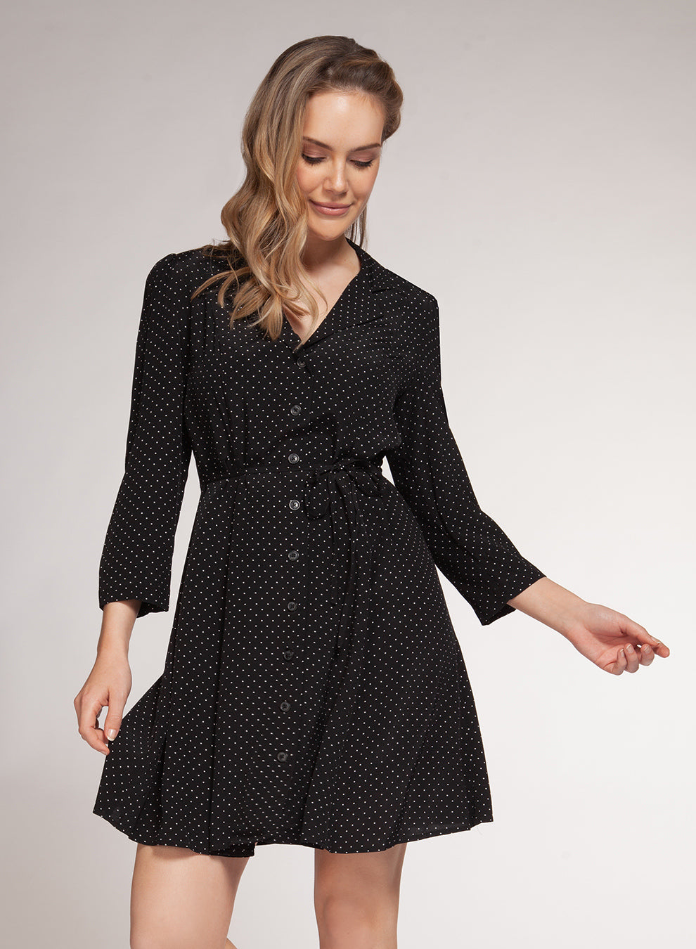 DEX CLOTHING LADIES BLACK DOT PRINT DRESS WITH BUTTONS