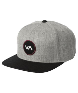 RVCA MENS PATCH GREY BLACK SNAPBACK HAT