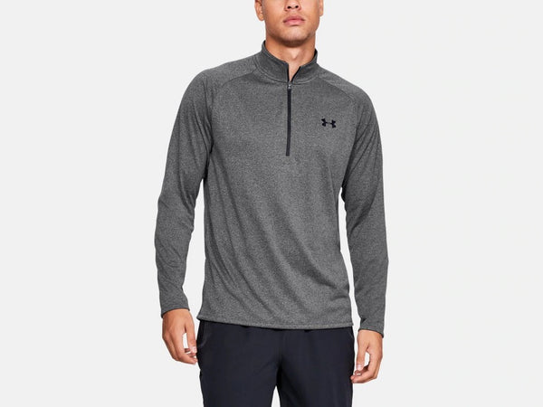 UNDER ARMOUR MENS TECH 2.0 1/2 ZIP CARBON HEATHER SHIRT