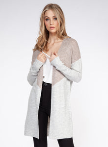 DEX CLOTHING LADIES LS COLOUR BLOCK OPEN GREY/BLUSH MELANGE CARDIGAN