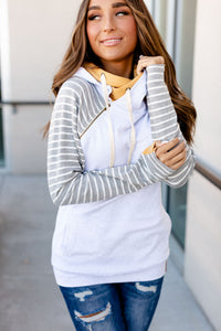 AMPERSAND AVE LADIES FOR THE FUN OF IT YELLOW GREY STRIPES DOUBLEHOOD HOODIE