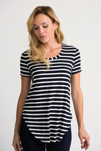 JOSEPH RIBKOFF LADIES MIDNIGHT BLUE/VANILLA STRIPE SS TOP