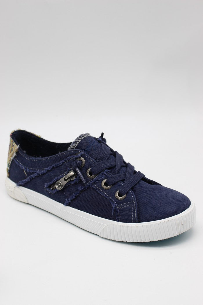 BLOWFISH LADIES PURE NAVY SMOKED CANVAS/DIEGO WEAVE SHOE