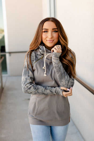 AMPERSAND AVE LADIES CHARCOAL TIE DYE DOUBLEHOOD HOODIE