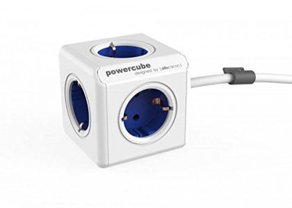 Allocacoc PowerCube Extended Spina a 5 Prese, Blu-Bianco