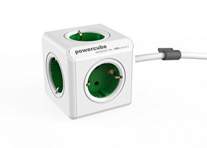 Allocacoc PowerCube Extended Spina a 5 Prese, Verde-Bianco