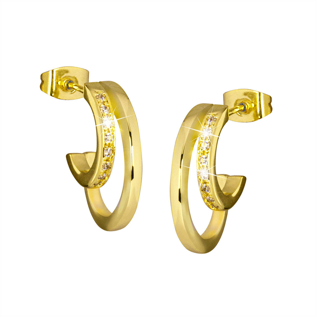 Oorsteker Isa gold plated brass 20mm - DiLusso Jewels