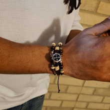 Load image into Gallery viewer, Leather Cross Barbee Bracelet