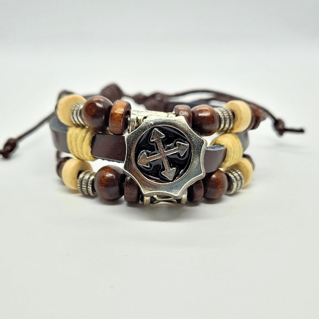 Leather Cross Barbee Bracelet