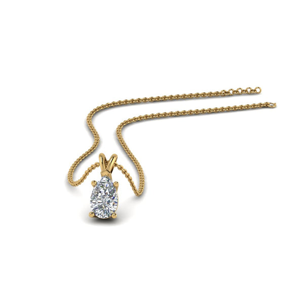 JBR 1Ct Pear Solitaire Diamond Sterling Silver Pendant