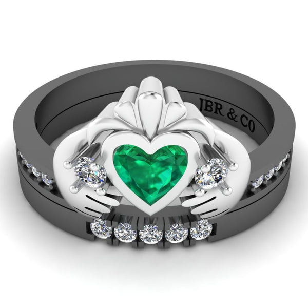 Two Tone Channel Set Claddagh Ring for Women