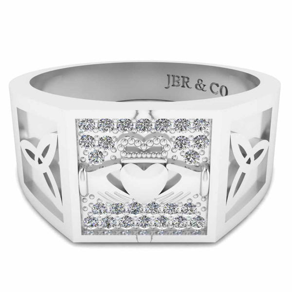 Men's Wedding Claddagh Ring In Sterling Silver
