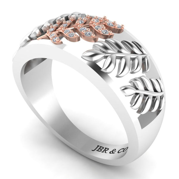 Leaf Pattern Round Cut S925 Wedding Ring