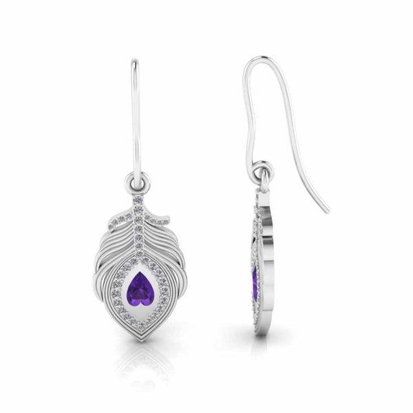 Jasmine Peacock Pitch Palm Drop Earrings In Sterling Silver