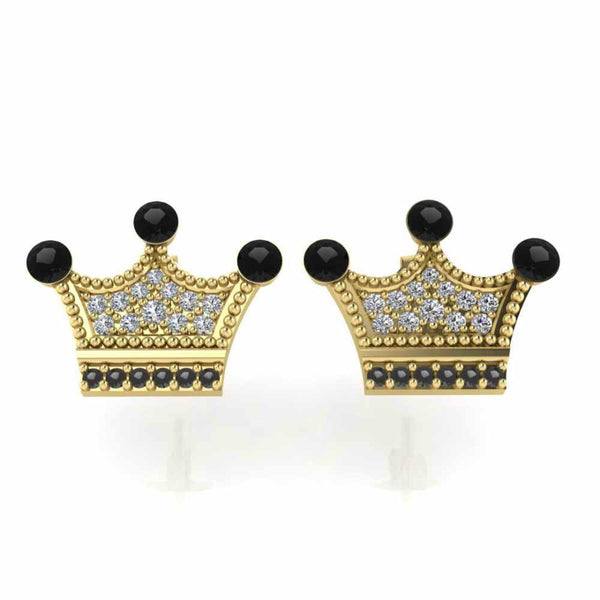 Tiny Crown Post Sterling Silver Stud Earrings