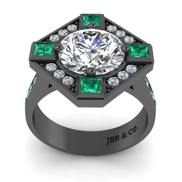 JBR Halo Diamond And Emerald Mounting Sterling Silver Ring