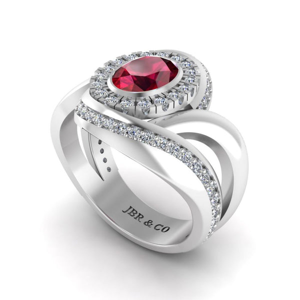 JBR Ruby Halo Wrap Sterling Silver Ring