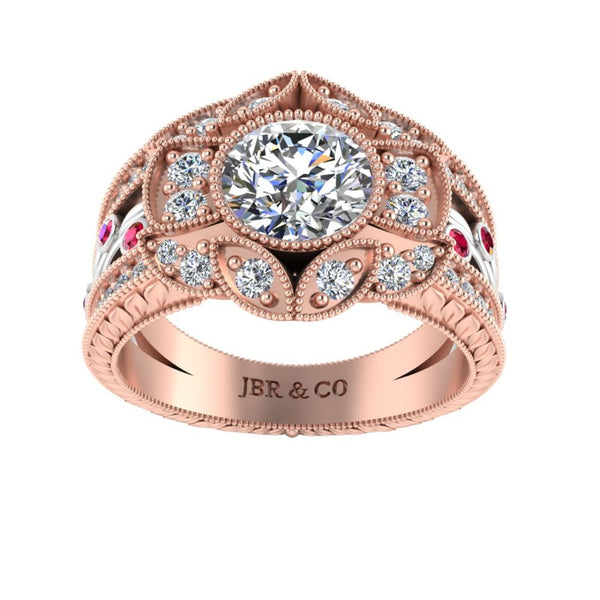 JBR Vintage Floral Style Two Tone S925 Engagement Ring