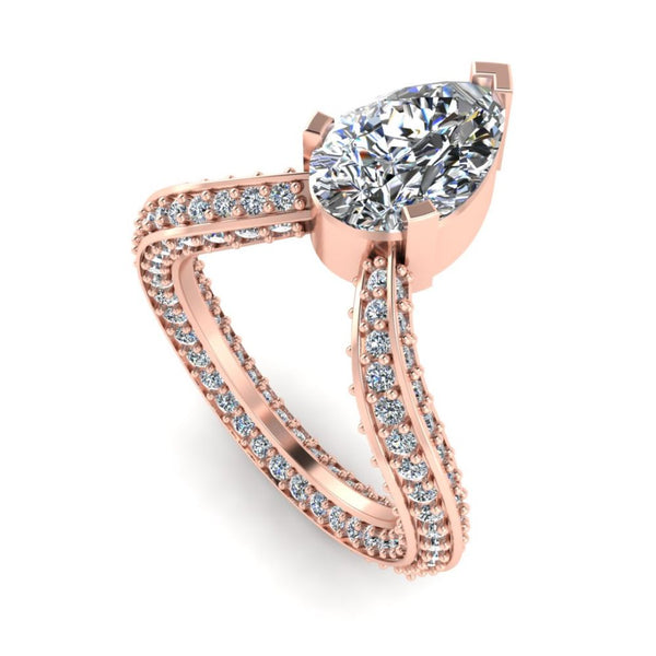 JBR Pear Cut V Shape S925 Cocktail Ring