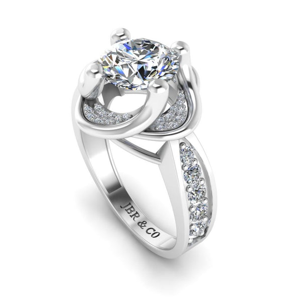 JBR Round Cut Solitaire Sterling Silver Ring