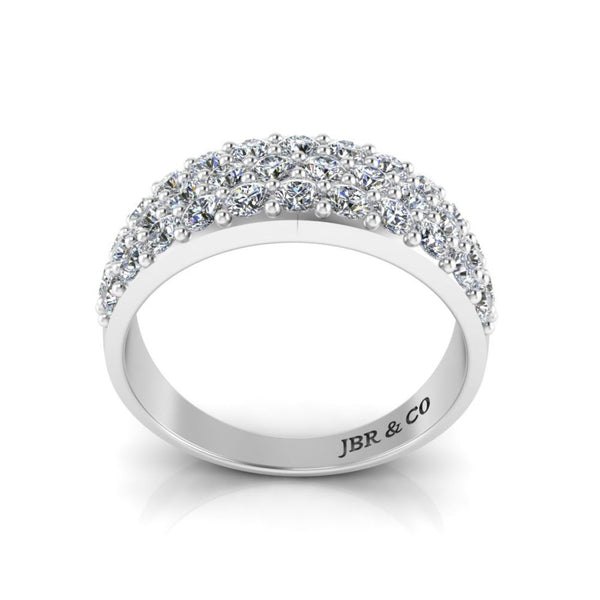 JBR Round Cut Sterling Silver Engagement Ring