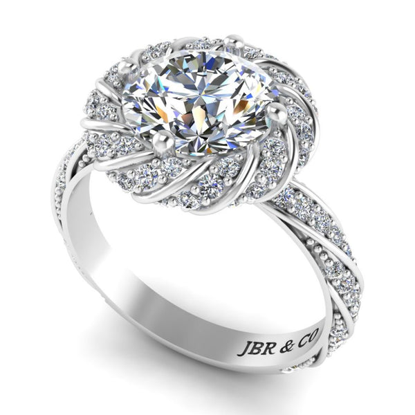 JBR Twisted Solitaire Modern Round Cut Engagement Ring In Sterling Silver