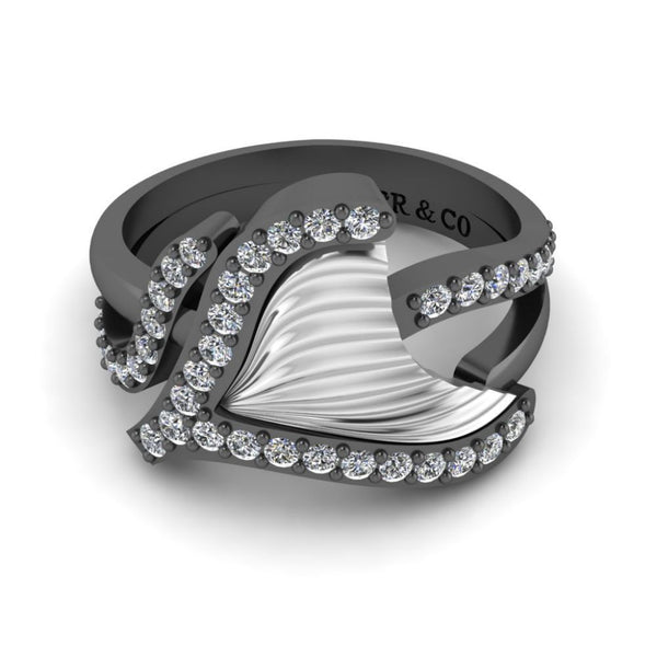 JBR Tail Fin Bypass Wedding Ring in Sterling Silver