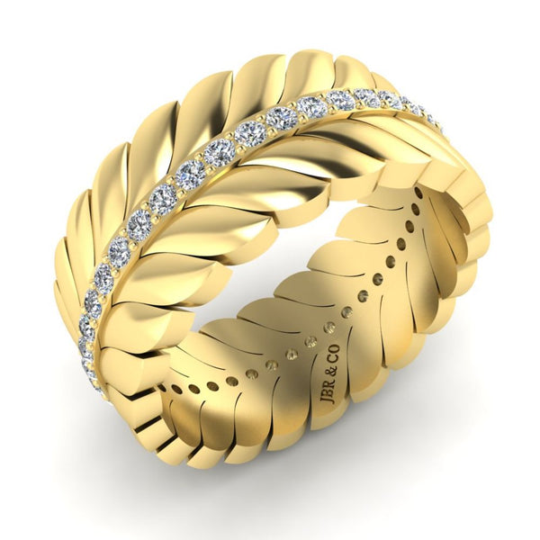 JBR Elegant Chanel Leaf Wedding Ring In Sterling Silver