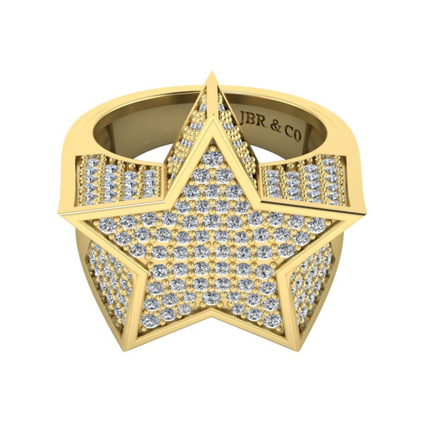 JBR Hip Hop Iced Out Star Micro Pave Diamond Ring