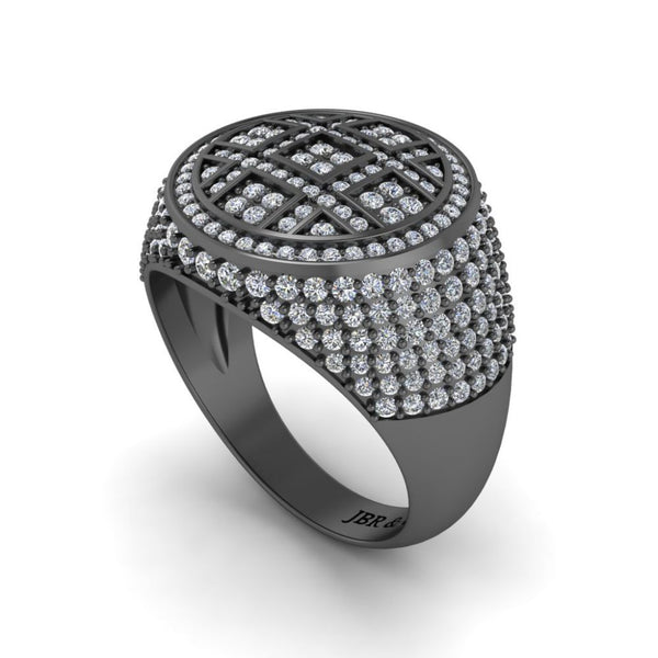 JBR Iced Out Flot Screen Round Cut Sterling Silver Ring